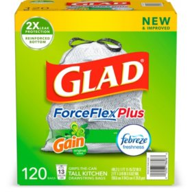 Glad ForceFlexPlus 13-Gallon Tall Kitchen Drawstring Trash Bags, Gain Original with Febreze Freshness (120 ct.)