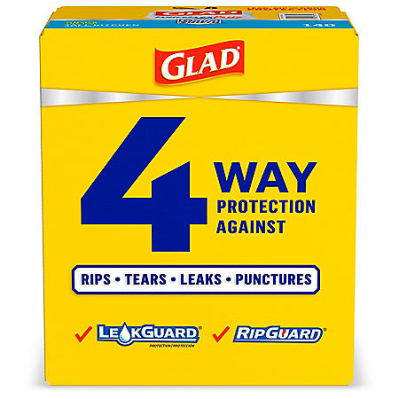Glad ForceFlexPlus 13-Gallon Tall Kitchen Drawstring Trash Bags, Unscented (140 ct.)