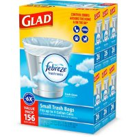 Glad Small Twist-Tie White Trash Bags, Fresh Clean Scent with Febreze Freshness (4 gal., 156 ct.)