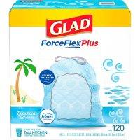 Glad ForceFlexPlus Tall Kitchen Drawstring Light Blue Trash Bags, Febreze Beachside Breeze (13 gal., 120 ct.)