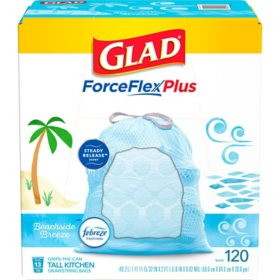 Glad ForceFlexPlus Tall Kitchen Drawstring Light Blue Trash Bags, Febreze Beachside Breeze (13 gal., 120 ct.)