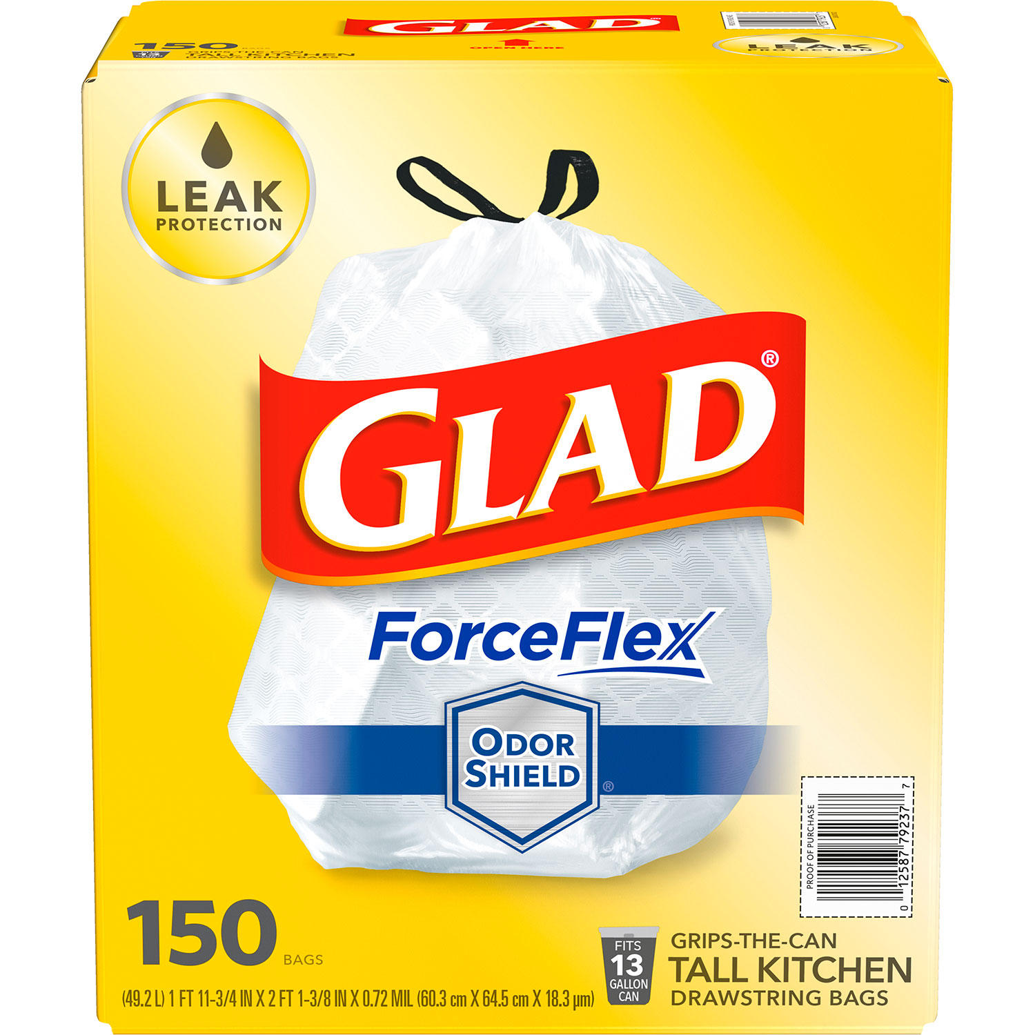 Glad ForceFlex Tall Kitchen 13 Gallon Drawstring Trash Bags with OdorShield (150 ct.)