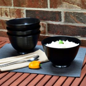 Over and Back Black Noodle Bowls, Set of 4