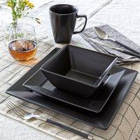 Overandback 16-Piece Square Porcelain Dinnerware Set
