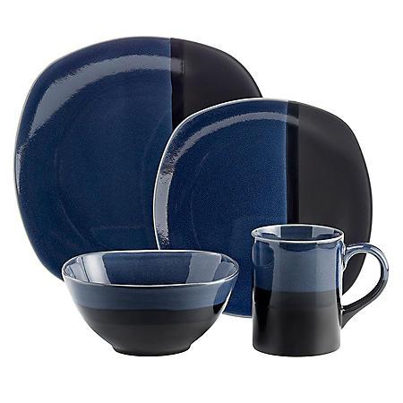 Overandback 16-Piece Square Stoneware Dinnerware Set (Assorted Colors)