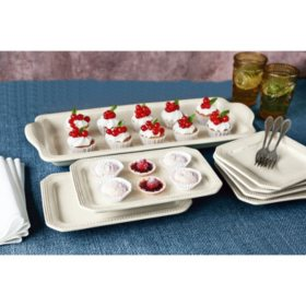 7-Piece Antique-White Platter and Plate Serving Set