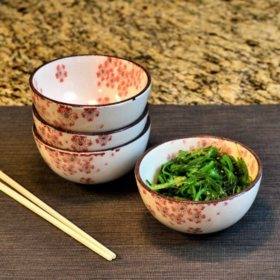 Over and Back Floral Rice Bowls, Set of 4 (Assorted Colors)