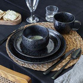 Overandback 16-Piece Glazed Speckled Stoneware Dinnerware Set