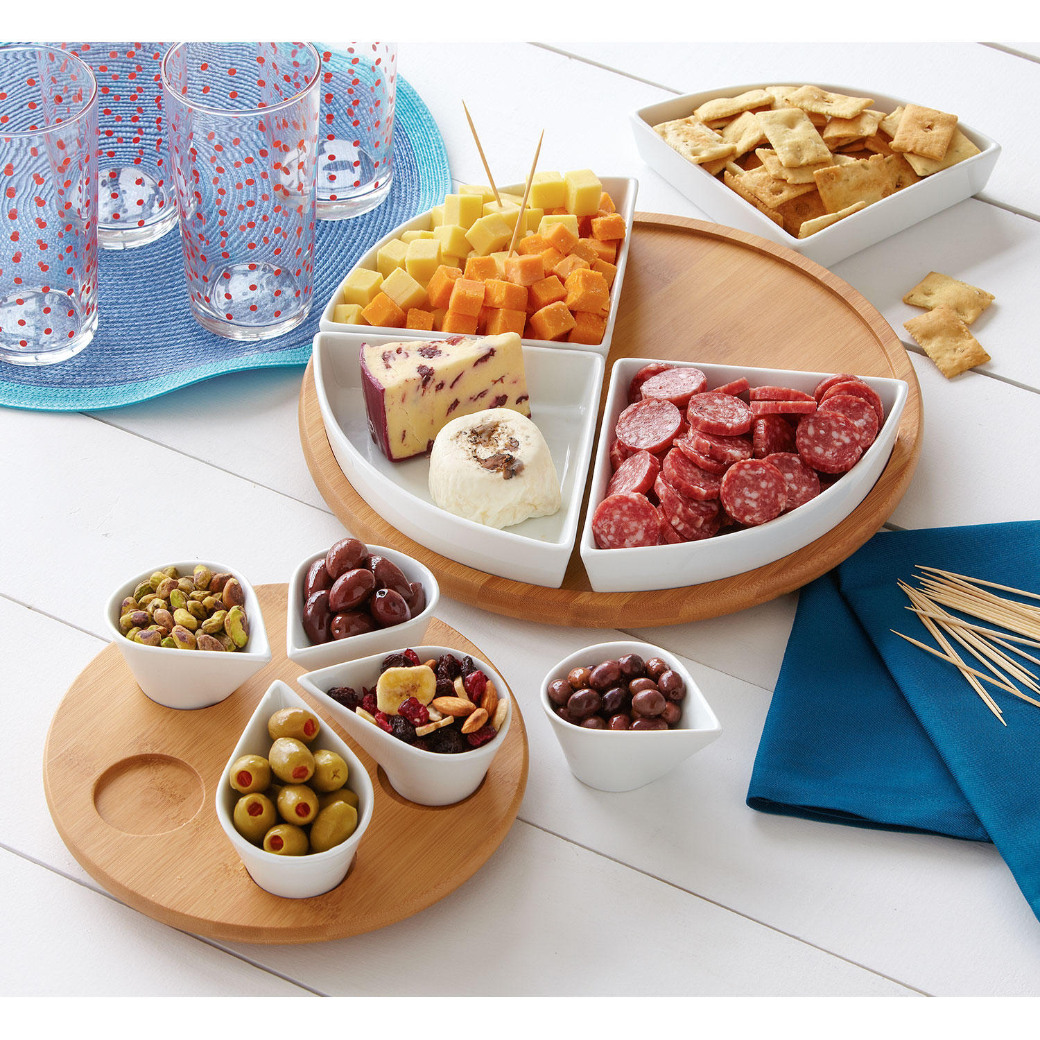 11-Pieces Over and Back Large Lazy Susan Serve Set