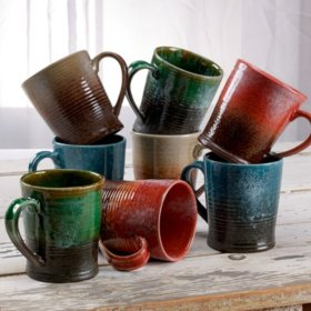 Over and Back Rustic Stoneware Mugs, Set of 8