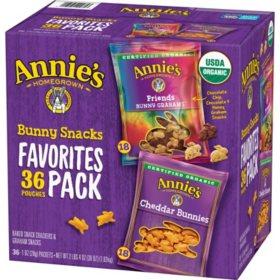 Annie's Organic Bunny Snacks Variety Pack (1 oz., 36 ct.)