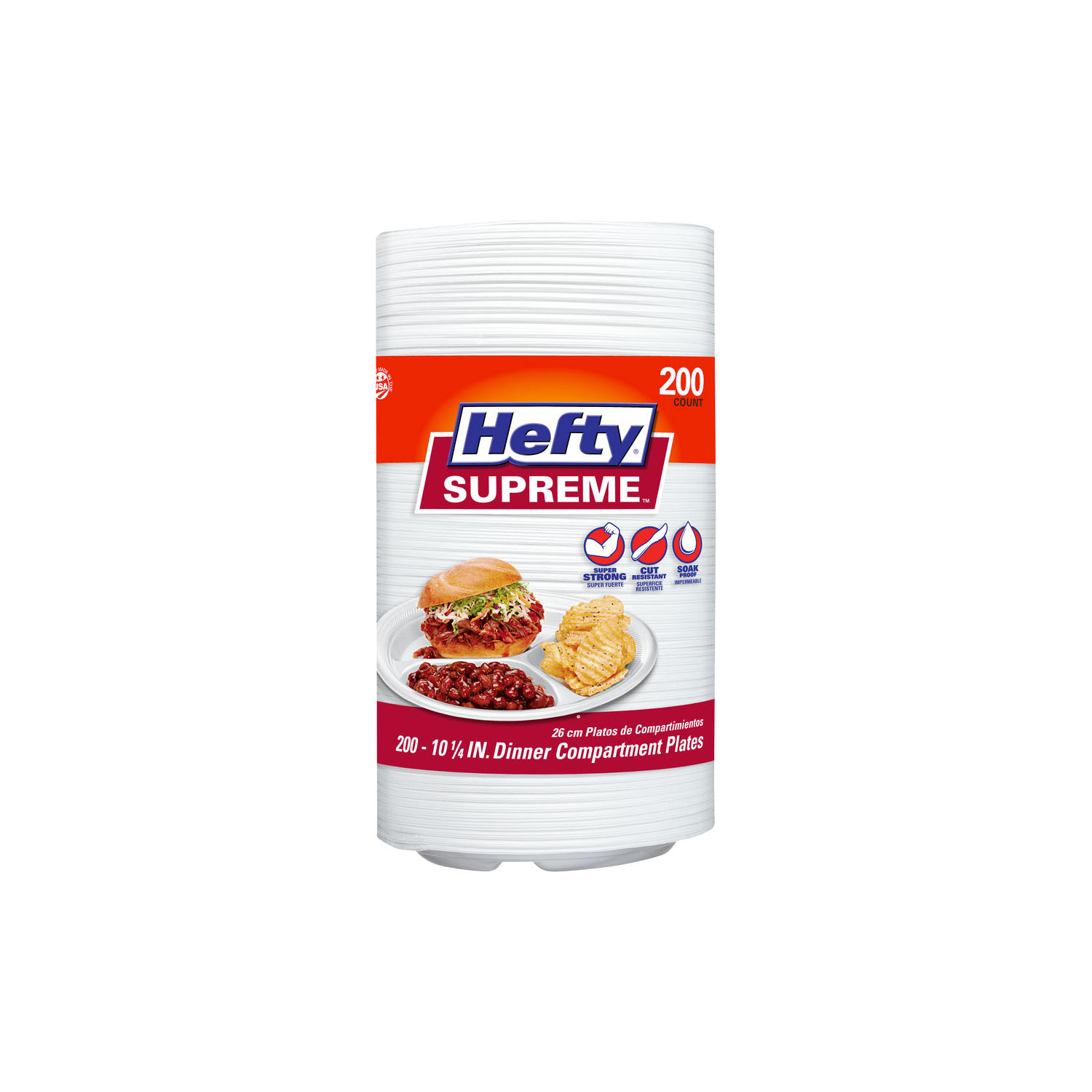 200-Count Hefty Supreme 3 Section Foam Plate