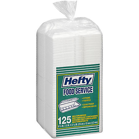 Hefty Food Service Containers Rectangle 9 3/4 x 5 x 3 1/4 (125ct.)