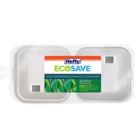 "Hefty ECOSAVE Sandwich Hinged Lid Container (6"" x 6"", 100 ct.)"