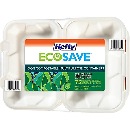"""Hefty ECOSAVE Hoagie Hinged Lid Container (9"""" x 6"""", 75 ct.)"""