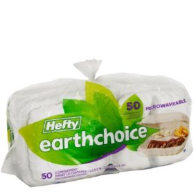 "Hefty Earthchoice Hinged, 9"", 3-Compartment Containers (50ct.)"