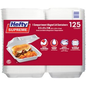 Member's Mark One-Compartment Hinged Lid Container by Hefty (125 ct.)