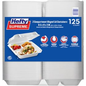 Member's Mark Three-Compartment Foam Hinged Lid Container by Hefty (125 ct.)