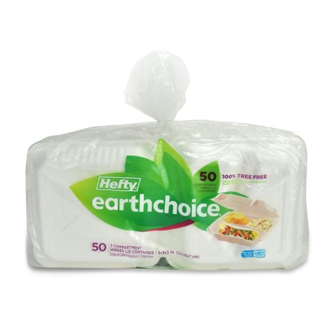 """Hefty Earthchoice Biodegradable 3-Compartment 9"""" Hinged Lid Container (50 ct.)"""