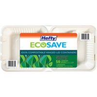 """Hefty ECOSAVE 3-Compartment Hinged Lid Container (9"""" x 9"""", 50 ct.)"""
