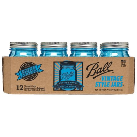 Ball® Vintage Blue Pint Jars - 12 pk.