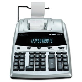 Victor 1240-3A AntiMicrobial Two-Color Printing Calculator, 12-Digit Fluorescent