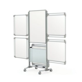 """Ghent 76.13"""" x 32.63"""" Nexus 2-Sided Mobile Porcelain Magnetic Whiteboard Easel, 4 Tablets, Frosted"""