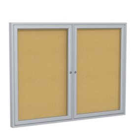 "Ghent 2-Door Satin Aluminum Frame Enclosed Bulletin Board, 36""x48"", Natural Cork"