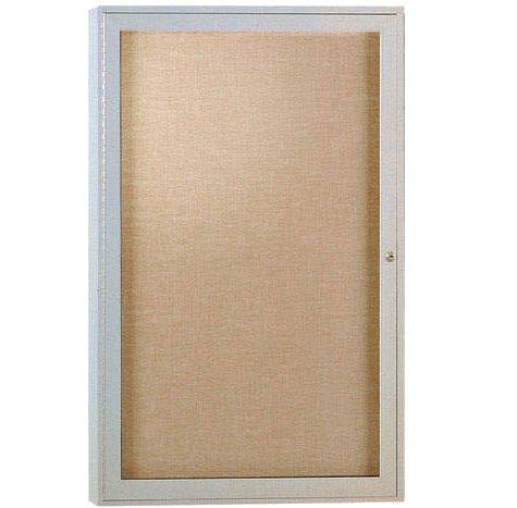 "Ghent 1-Door Satin Aluminum Frame Enclosed Vinyl Bulletin Board, 36"" x 24"" (Caramel)"