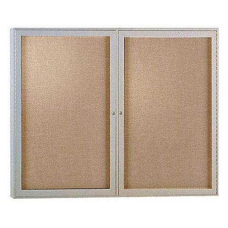 Ghent 2-Door Enclosed Satin Aluminum Frame Vinyl Bulletin Board - Choose Size