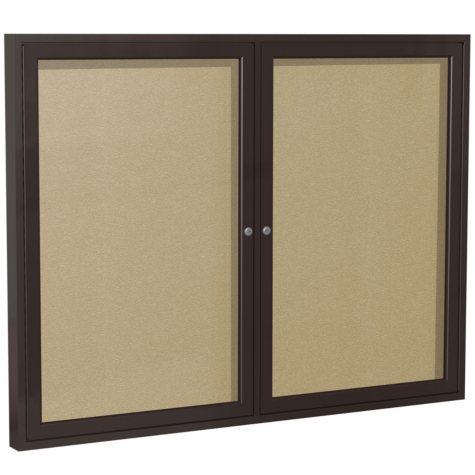 "Ghent 2-Door Bronze Aluminum Frame Enclosed Vinyl Bulletin Board, 36"" x 60"" (Natural)"