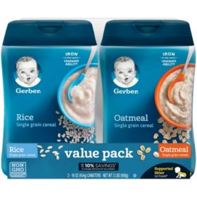 Gerber Rice and Oatmeal Infant Cereal Twin Pack (16 oz , 2 pk