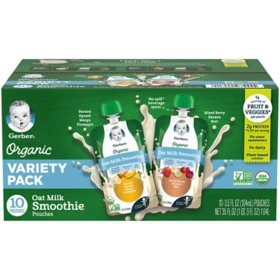 Gerber Organic Oat Milk Smoothie Variety Pack (3.5 fl. oz., 10 ct.)