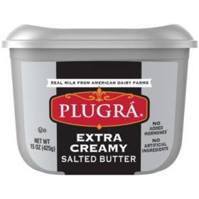 Plugra Extra Creamy Salted Butter, Tub (15 oz.)
