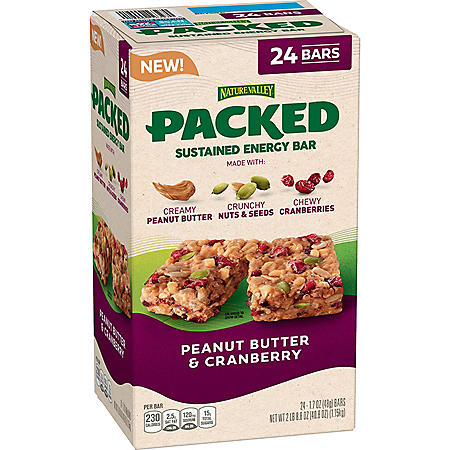 Nature Valley Packed Sustained Energy Bar, Peanut Butter & Cranberry (24 pk.)
