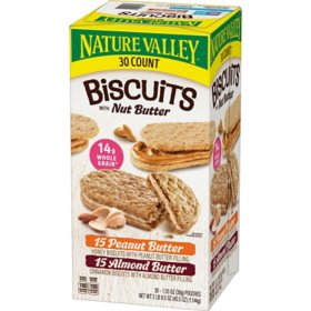 Nature Valley Biscuits Variety Pack, Almond Butter and Peanut Butter, Breakfast Bars (30 ct.)