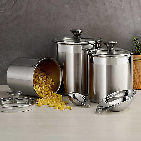 Tramontina 6 Pc Stainless Steel Covered Canister Set with Measuring Scoops