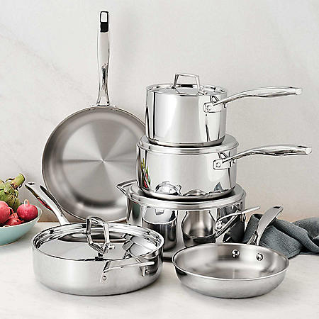 Tramontina 10-Piece Tri-Ply Clad 18/10 Stainless Steel Cookware Set