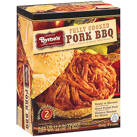Byron's Fully Cooked Pork BBQ w/Sweet & Spicy BBQ Sauce - 2/24 oz.