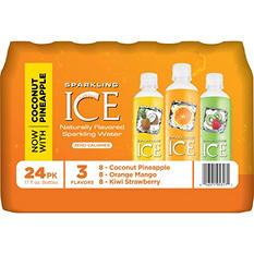 Sparkling ICE Sparkling Water Variety Pack, Coconut Pineapple/Orange Mango/Kiwi Strawberry (17 oz., 24 pk.)