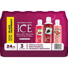 Sparkling ICE Sparkling Water Variety Pack Cherry Limeade/Black Raspberry/Strawberry Watermelon (17 oz., 24 pk.)