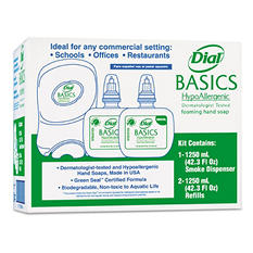 Dial Professional Duo Basics Hand Wash Dispenser Kit w/ 2 Refills, Smoke (1250 ML cartridge)