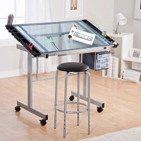 2-Piece Vision Drafting Table with Supply Storage and Padded Stool Set