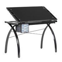 Futura Drafting Table with Adjustable Top and Supply Storage, Assorted Colors