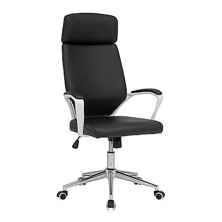 High Back Modern Executive Chair, Height/Tilt Adjustable with Padded Arms and Chrome Base