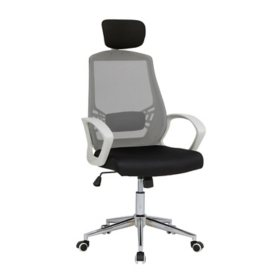 High Back, Mesh, Adjustable Executive Chair with Headrest and Lumbar Support