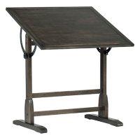 """Vintage Distressed Black Solid Wood Drafting Table, 36"""" x 24"""""""
