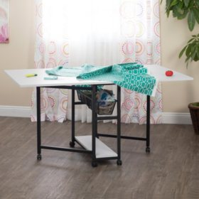 Mobile Fabric Cutting Table with Storage