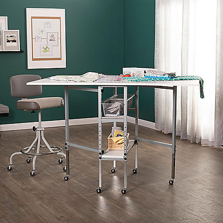 Height-Adjustable Folding Cutting Table with Sewing Board Grid, Guides and Storage