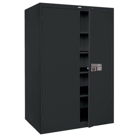 """Quick Assembly Keyless Electronic Coded Steel Cabinet - Black (48""""W x 24""""D x 78""""H)"""